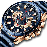 Часы наручные мужские синие кварцевые Curren 8363 Blue-Cuprum 1008-0178