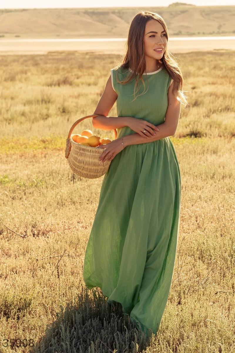 Льняное платье-макси S,M,L
