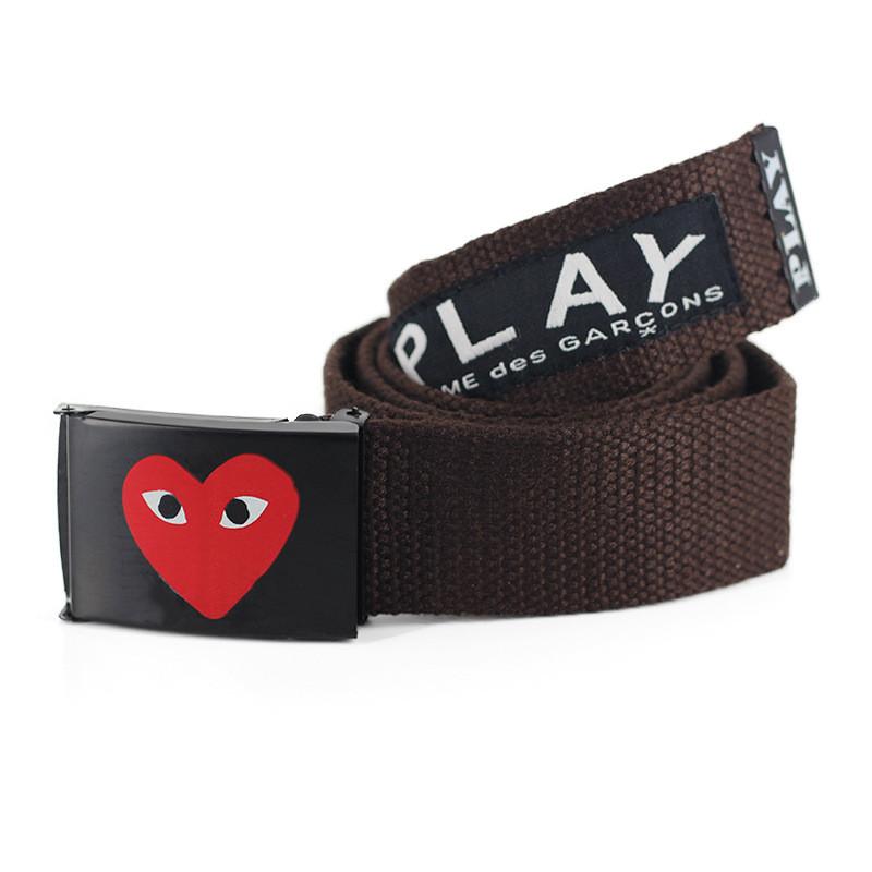 Ремень Пояс Play Comme Des Garcons Belt 100 см Сердце Коричневый