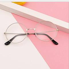 Имиджевые очки нулевки City-A Круглые с прозрачными стеклами Серебряные