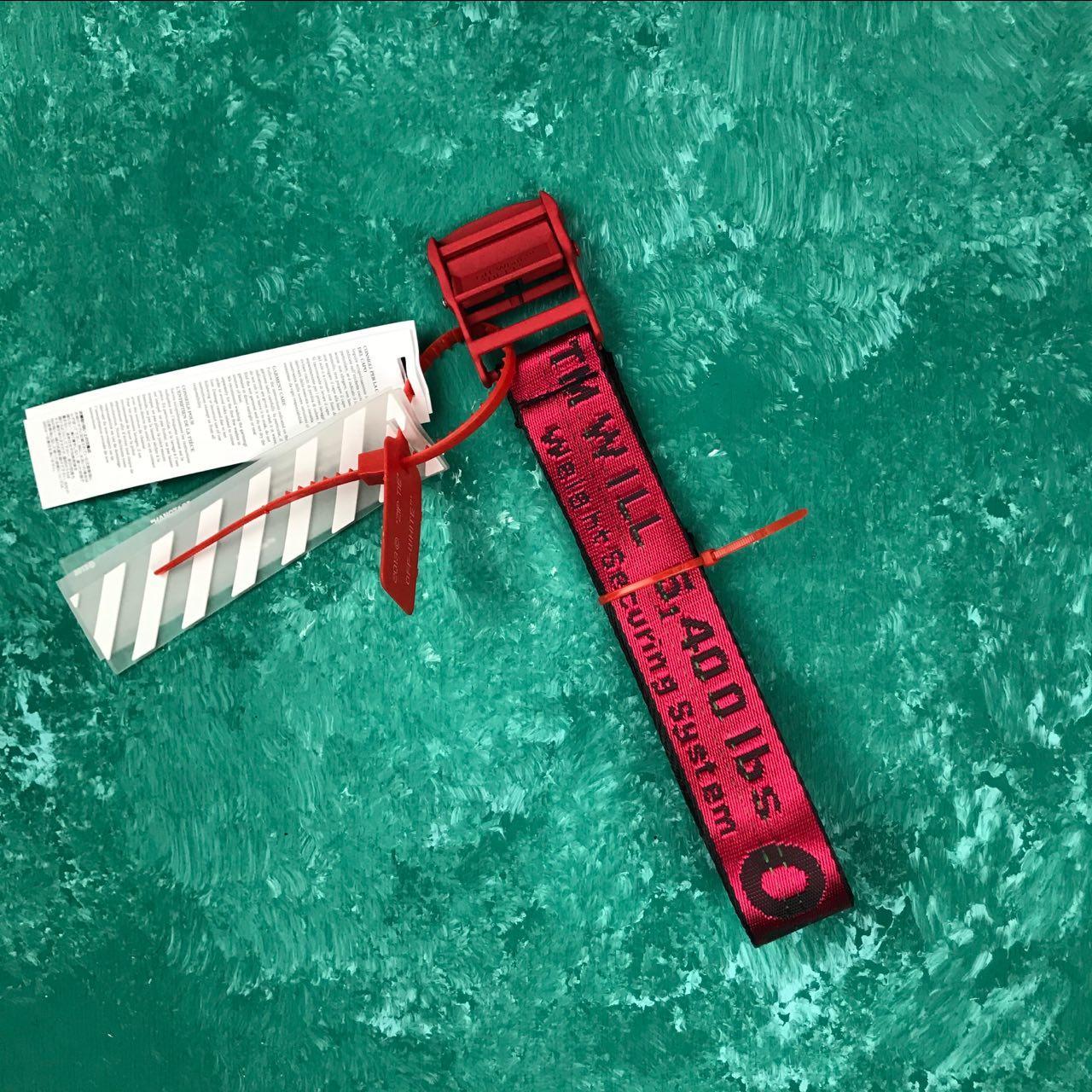 Ремень Пояс Off-White Original Belt Офф Вайт 150 см Красный с красной пряжкой