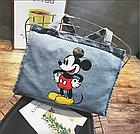 Тканевая Эко Сумка Шоппер City-A Mickey Maus с Микки Маусом Джинс, фото 2