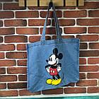 Тканевая Эко Сумка Шоппер City-A Mickey Maus с Микки Маусом Джинс, фото 3