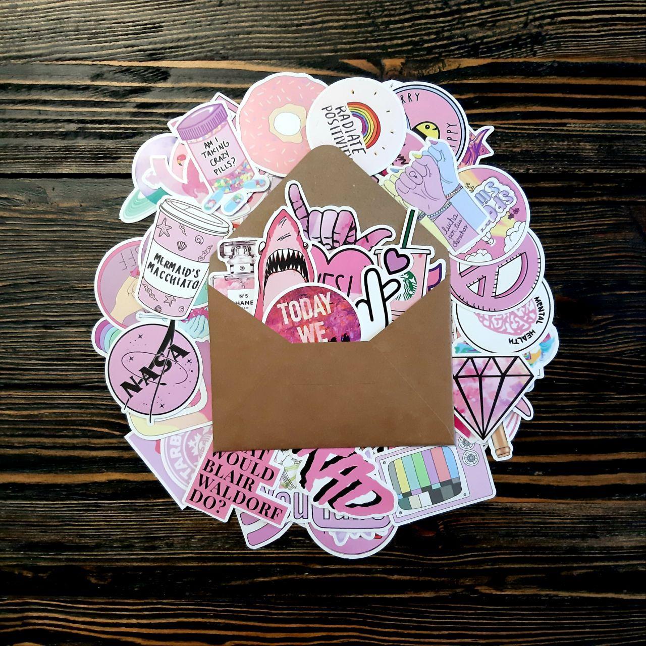Водоотталкивающие стикеры на ноутбук, авто, скейт, Стикербомбинг, виниловые наклейки Розовый - 50 шт