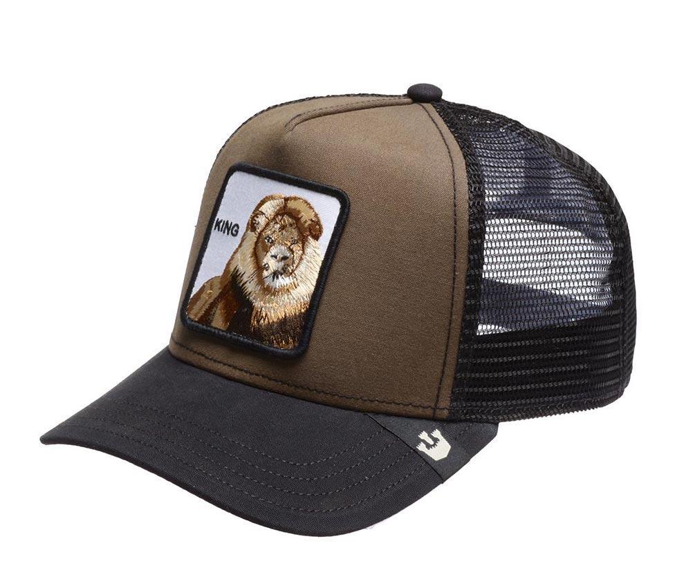 Кепка Бейсболка Тракер с сеткой Goorin Brothers Animal Farm King со Львом Коричневый
