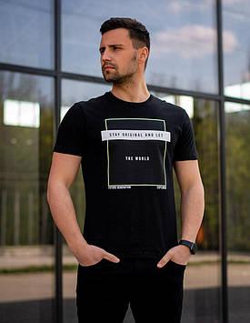 Мужская черная футболка Стена