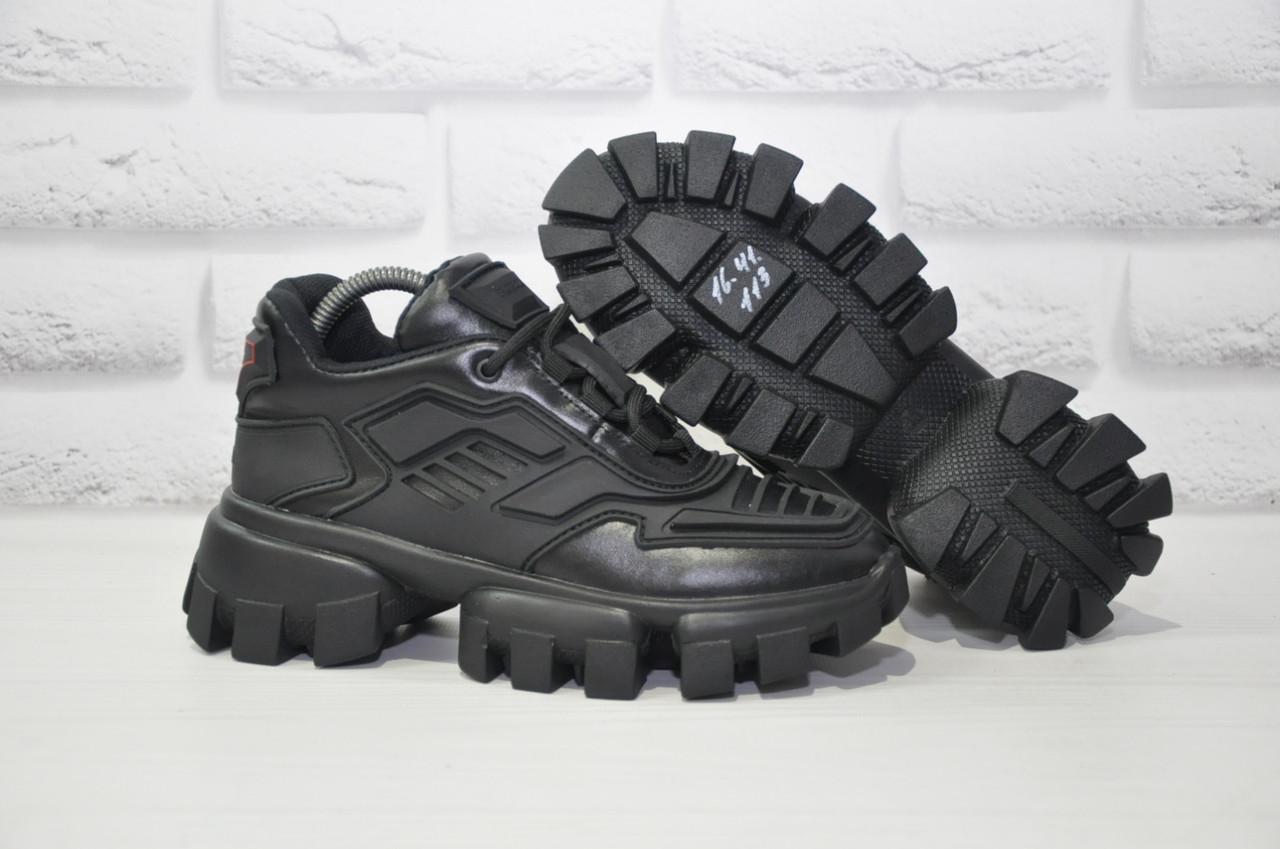 Черные женские кроссовки/сникерсы натуральная кожа в стиле Prada Cloudbust Thunder