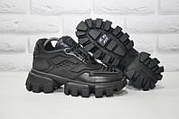 Черные женские кроссовки/сникерсы натуральная кожа в стиле Prada Cloudbust Thunder, фото 1