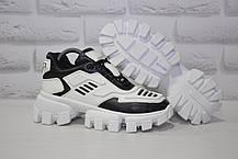 Женские кроссовки на тракторной подошве натуральная кожа в стиле Prada Cloudbust Thunder