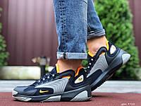 Кроссовки мужские демисезонные в стиле Nike Zoom 2K, темно синие с серым \ оранжевым