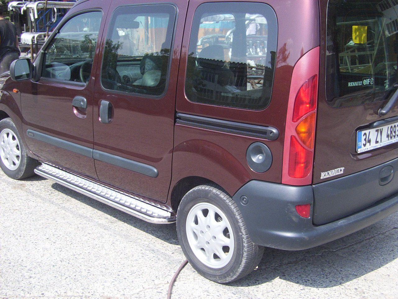 Пороги с листом (площадка) на Renault Kangoo UATUNING нержавейка (d 60 лист нержавеющий)