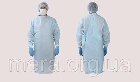 Халат хирургический р.XL, рукав с манжетой, нестерильный, spunbond 30г/м2, фото 2