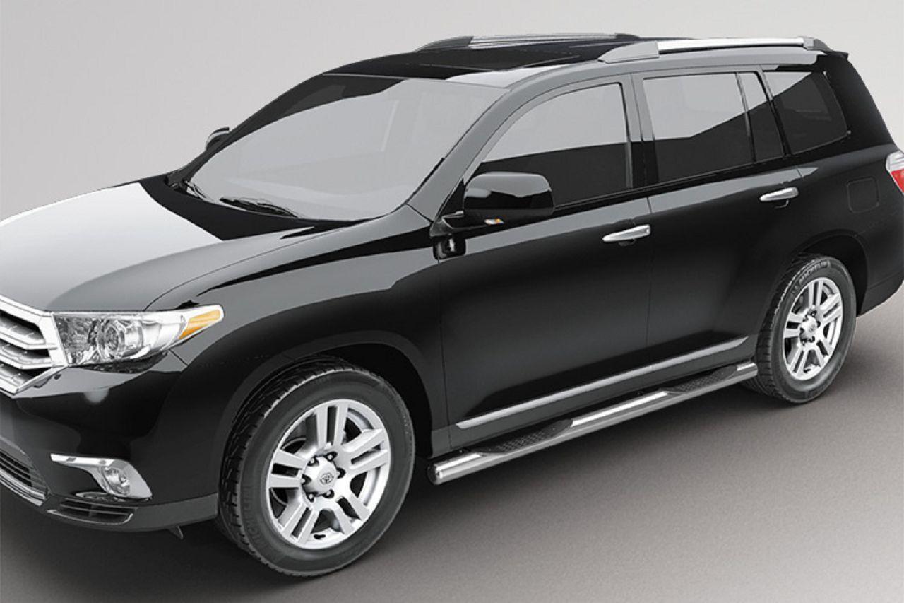 Пороги труба с проступью на Toyota Highlander UATUNING (усиленные)