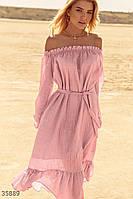 Воздушное персиковое платье UN