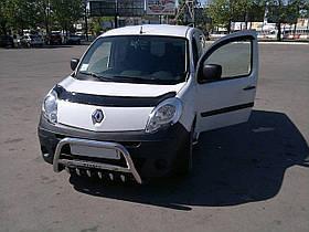 Кенгурятник низький з грилем на Renault Kangoo TAMSAN нержавійка (з написом)