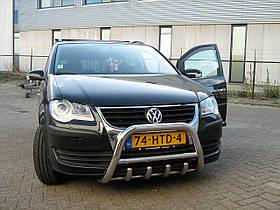 Кенгурятник низкий с грилем на Volkswagen Touran (с надписью)