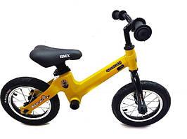 Беговел детский велобег карбоновый желтый велосипед SpaceBaby (Maserati Edition)