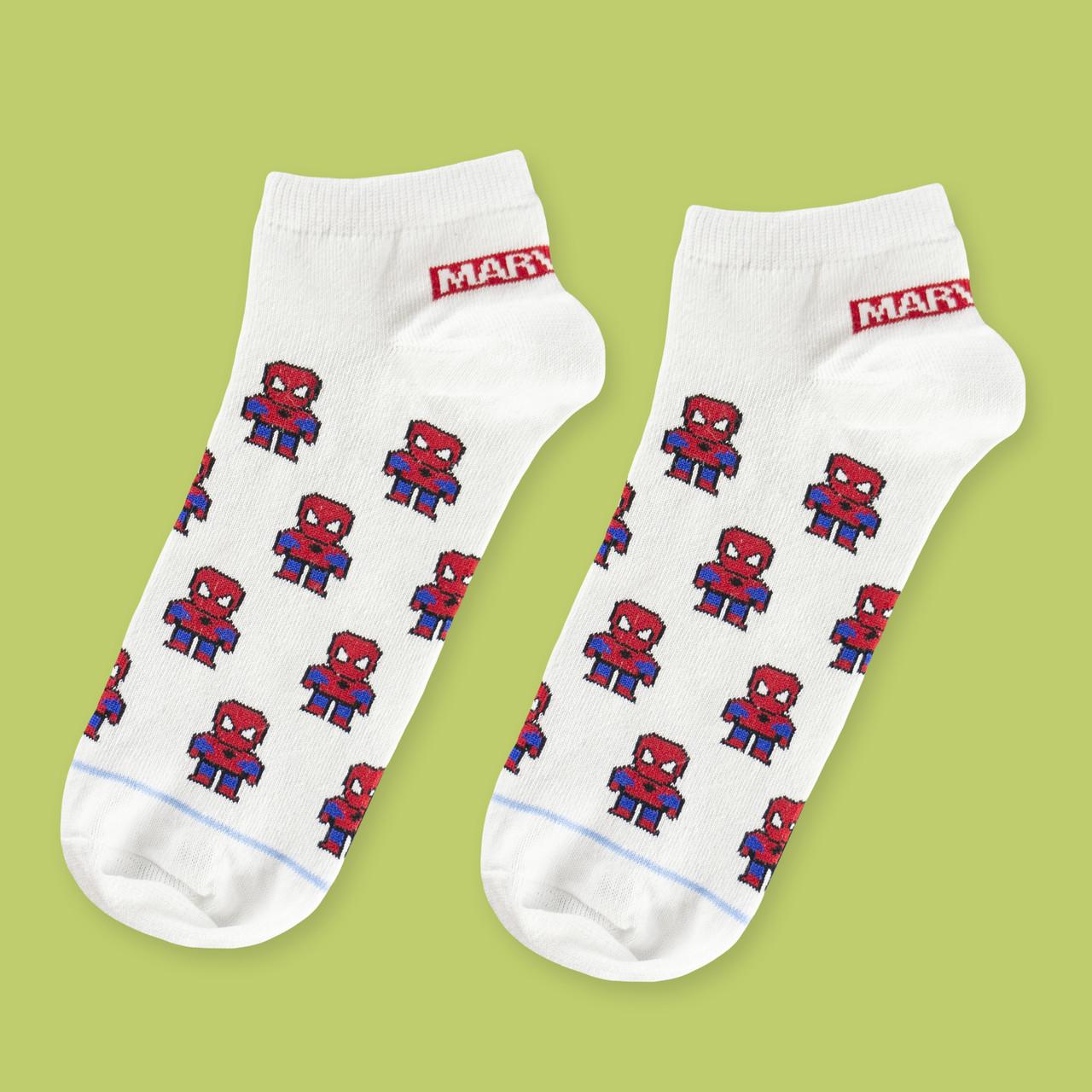 """Шкарпетки білі короткі з принтом """"Spider man"""""""