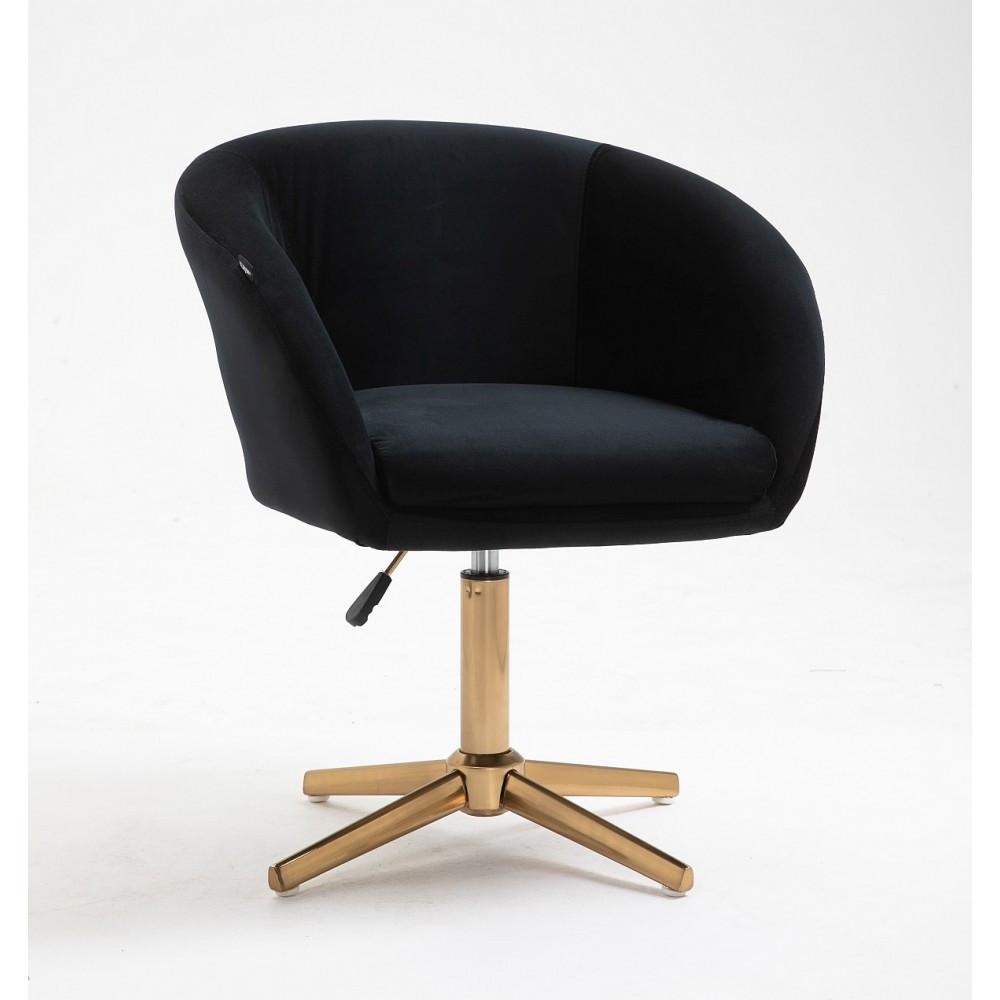 Парикмахерское кресло Hrove Form HR8326C черный велюр золотая основа