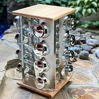 Набор для специй на деревянной подставке Stenson MS-3505 16шт/наб
