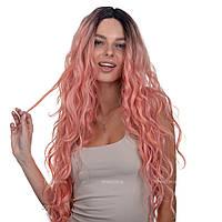 Длинный парик термоволосы на сетке - полусистема Ann Full Lace цвет розовый