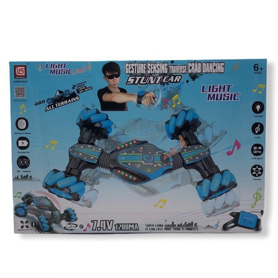 Трюковая машина-трансформер с пультом на руку, Weishengda CV8818-83A перевертыш синий на аккумуляторе, 42 см