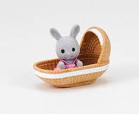 Сільваніан Фемеліс малючки Sylvanian Families Rabbit baby with crib Сильваниан фемелис кролик