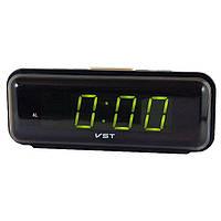 Часы VST 738 Green, настольные часы, часы с будильником, электронные часы, электронный будильник, сетевые