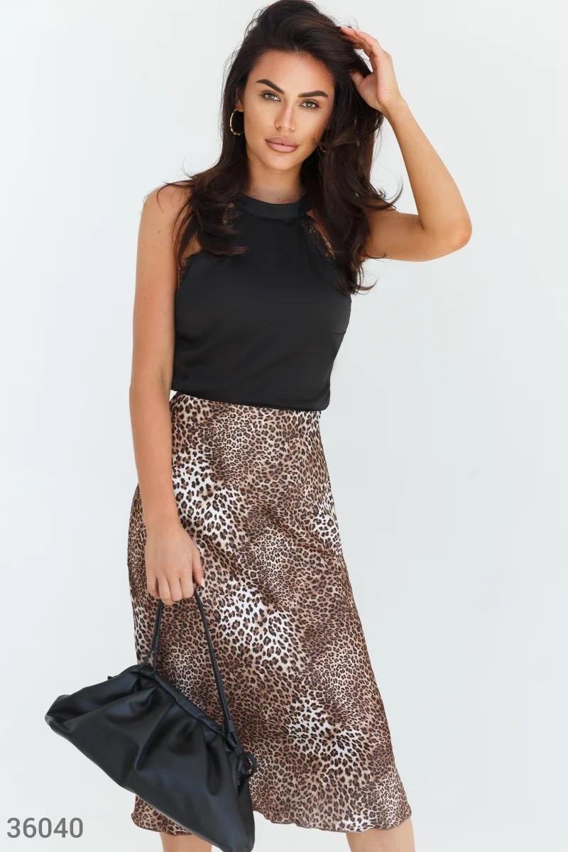 Стильная юбка с леопардовым принтом XS S M L