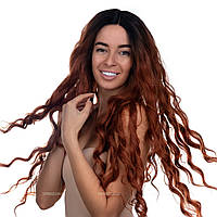 Длинный парик 80 см термоволосы на сетке - полусистема Hilda Full Lace цвет каштановый