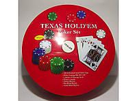 Набор для игры в покер в метал. упаковке (240 фишек+2 колоды карт+полотно) I3-98, покерный набор! Хит продаж