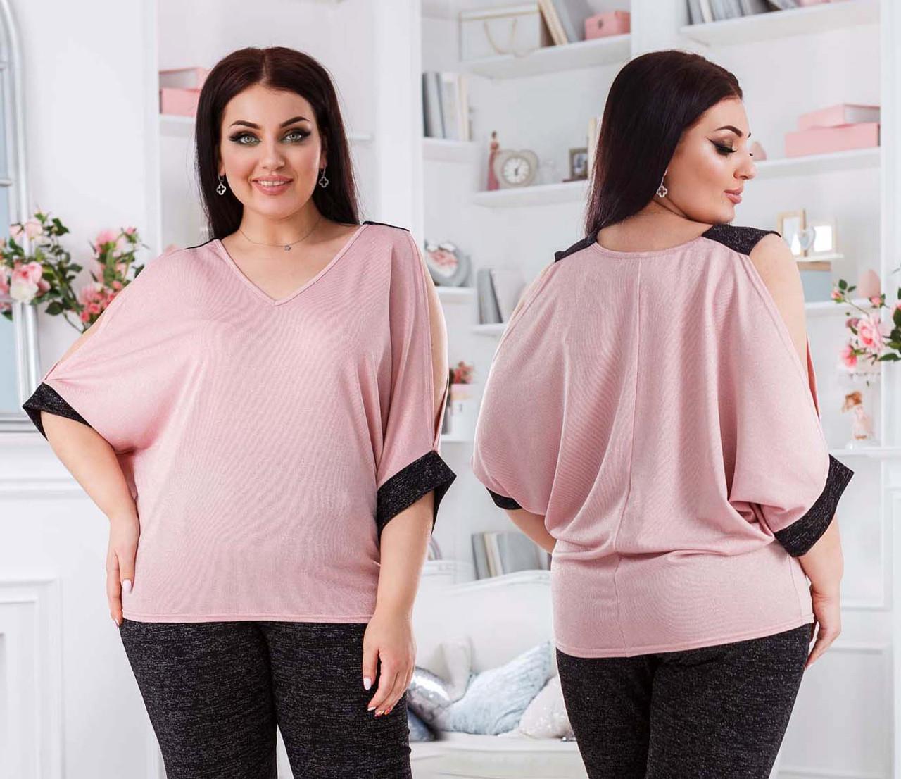 """Ошатна жіноча блуза-туніка у великих розмірах 41457 """"Трикотаж Люрекс Плечі Розрізи Манжет"""" в кольорах"""