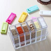 Кухонная подставка для хранения приправ и специй с 6-ю емкостями Seasoning Six Piece Set   спецовник 6 шт! Хит