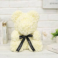 Мишка из 3D роз 25 см + красивая подарочная упаковка + подарок Белый! лучшее качество