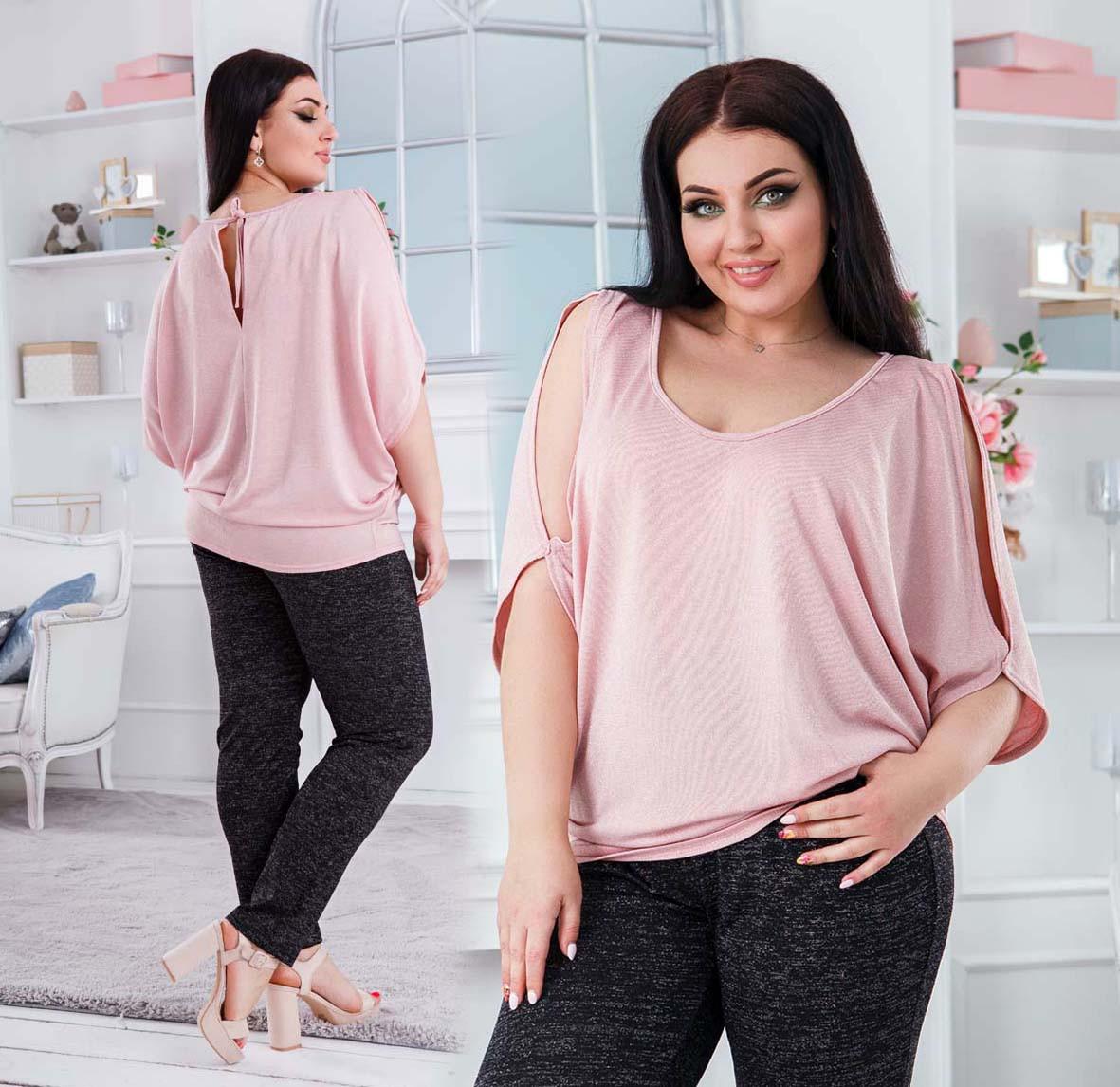 """Нарядная женская блуза-туника в больших размерах 41456 """"Трикотаж Люрекс Плечи Разрезы"""" в расцветках"""