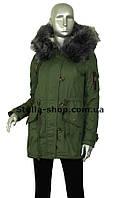 Зимняя куртка парка коттон зеленая (хаки)