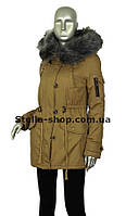 Зимняя куртка парка коттон беж