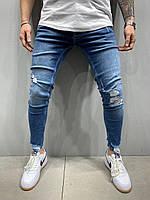 Синие рваные джинсы мужские, модные зауженные джинсы, молодежные турецкие узкие джинсы(весна, осень)