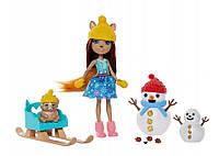 Enchantimals Snowman face-off Энчантималс встреча с снеговиком Белочка новинка