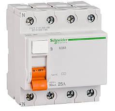 Дифференциальный выключатель (УЗО) Schneider Electric Домовой ВД63, 4P 25А 30мА,  11460
