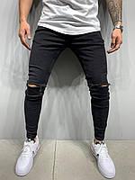 Джинсы мужские черные, рваные джинсы зауженные черные, узкие в обтяжку Турция (с дырками, весна, осень))