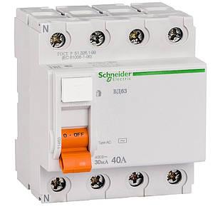 Дифференциальный выключатель (УЗО) Schneider Electric Домовой ВД63, 4P 40А 30мА,  11463, фото 2