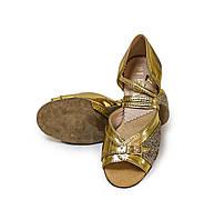 Туфли детские для бальных танцев с блестящим напылением Levant 7000/4 Золото