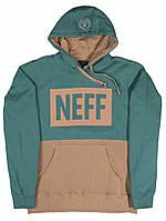 Кофта трикотажная утепленная с капюшеном Neff Rift Pull Over Hoodie Forest / Bark GTIN0888259854700 зеленая с какао