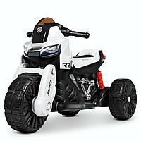 Детский электромобиль Мотоцикл M 4193 EL-1, EVA колеса, Кожаное сиденье, белый