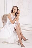 Нарядное белое платье с ассиметрией (M, L, XL)