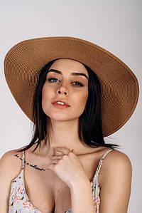 Шляпка широкополая Сара оптом SHL-2025 капучиновая