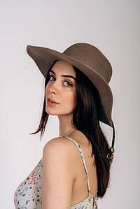 Шляпка широкополая Сара оптом SHL-2025 темно-капучиновый