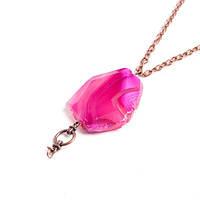 Ожерелье с розовым агатом на цепочке