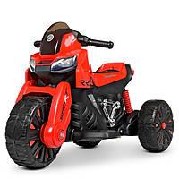 Детский электромобиль Мотоцикл M 4193 EL-3, EVA колеса, Кожаное сиденье, красный